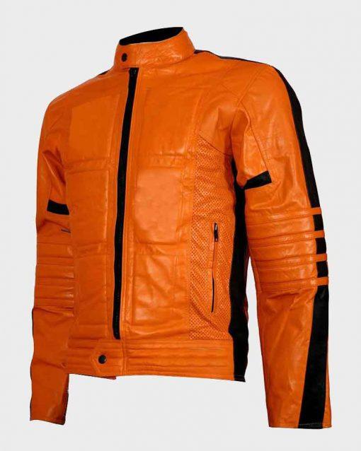 Mens Slimfit Padded Style Orange Biker Leather Jacket