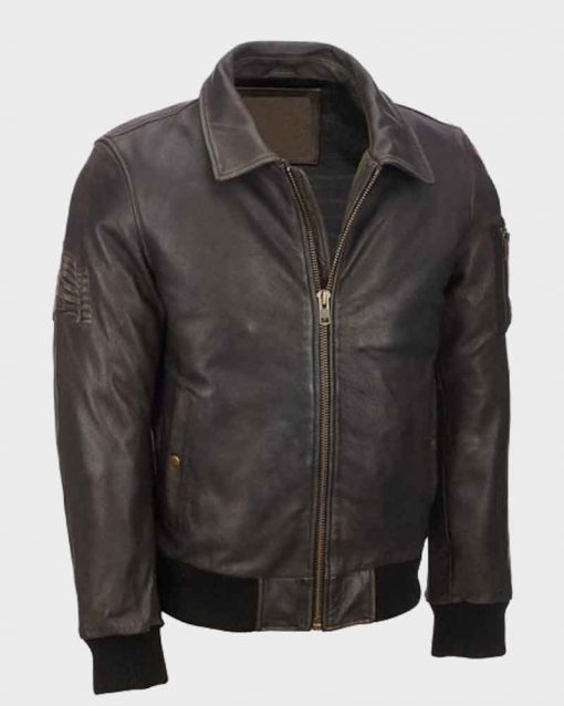Distressed Brown Mens Vintage Leather Bomber Jacket