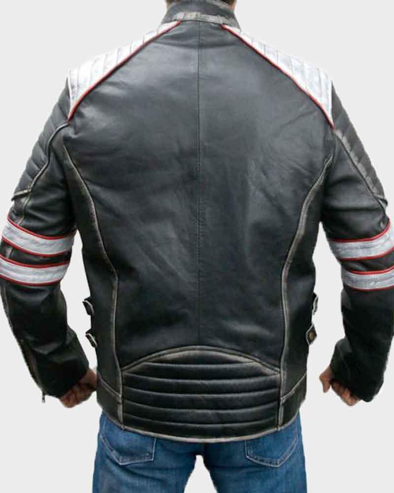 Cafe Racer Retro Mens Vintage Motorcycle Leather Distressed Black Biker Jacket