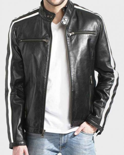 Mens Black Biker Cafe Racer Leather Jacket
