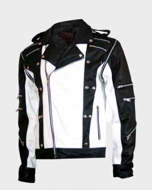 Michael Jackson Pepsi Black and White Leather Jacket