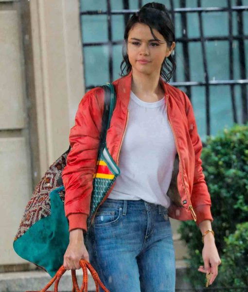 A Rainy Day in New York Selena Gomez Bomber Jacket