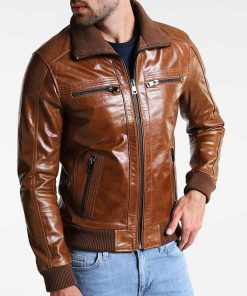 Shining Brown Leather Mens Bomber Jacket