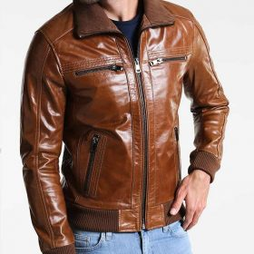 4e2146aee Mens Bomber Shining Brown Leather Jacket