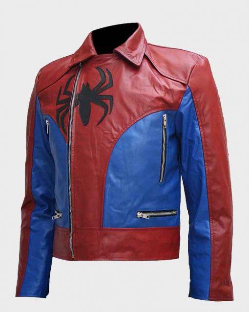 Mens Spiderman Logo Motorcycle Leather Jacket
