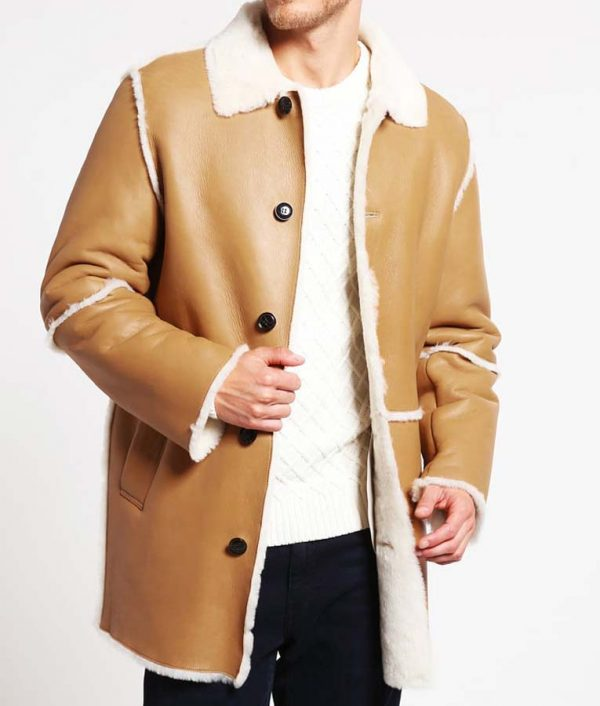 Shearling Tan Brown Mens Leather Car Coat