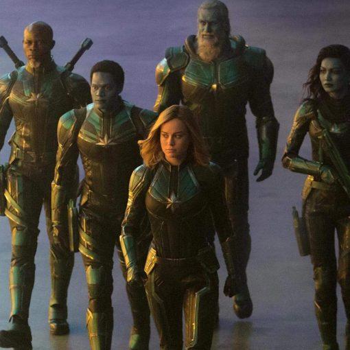 Team Captain Marvel Leather Green Jacket