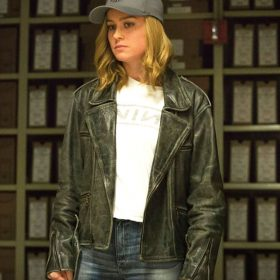 Captain Marvel Brie Larson Black Motorcycle Jacket