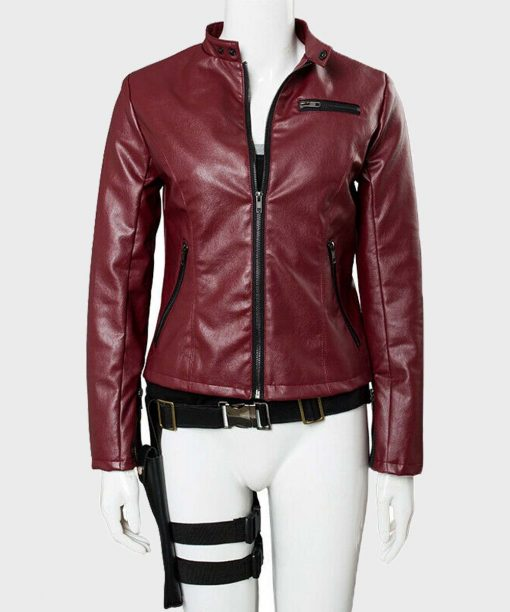 Video Game Claire Redfield Red Leather Jacket