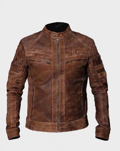 Café Racer Mens Brown Distressed Biker Leather Jacket