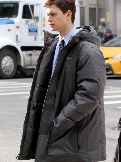 Ansel Elgort The Goldfinch Grey Hooded Coat