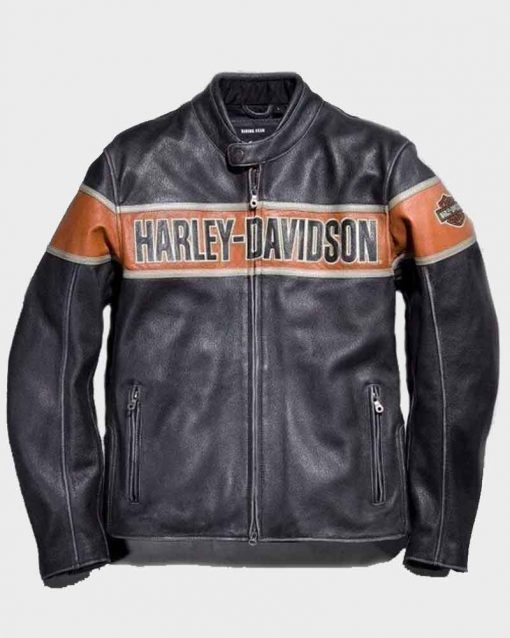 Mens Black Biker Harley Davidson Victory Lane Jacket