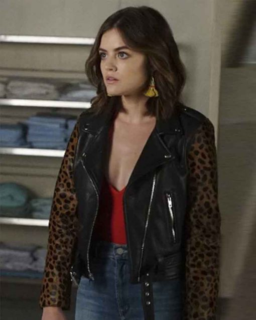 Pretty Little Liars Lucy Hale Black Aria Montgomery Leather Jacket