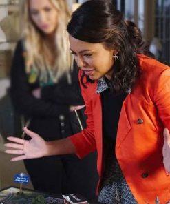 Pretty Little Liars Janel Parrish Mona Vanderwaal Orange Jacket