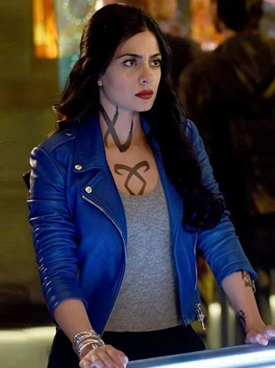 Emeraude Toubia Shadowhunters Motorcycle Blue Jacket