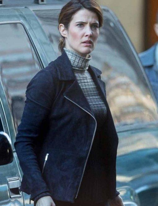 Cobie Smulders Black Suede Jacket