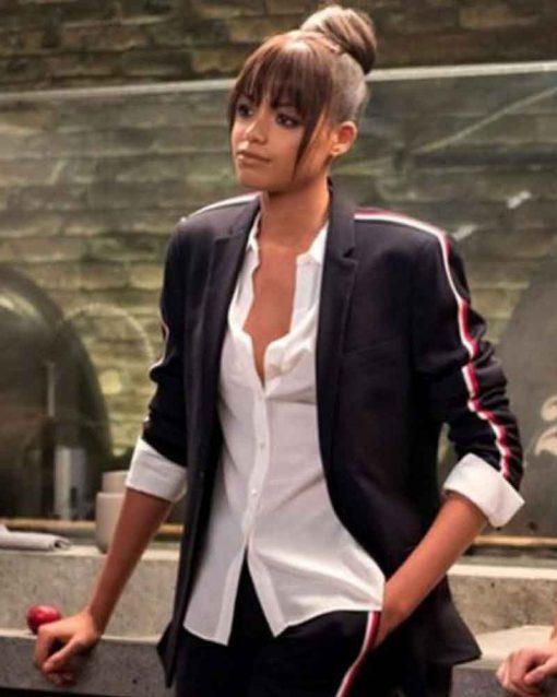 Charlie's Angels Ella Balinska Black Jane Kano Blazer Jacket