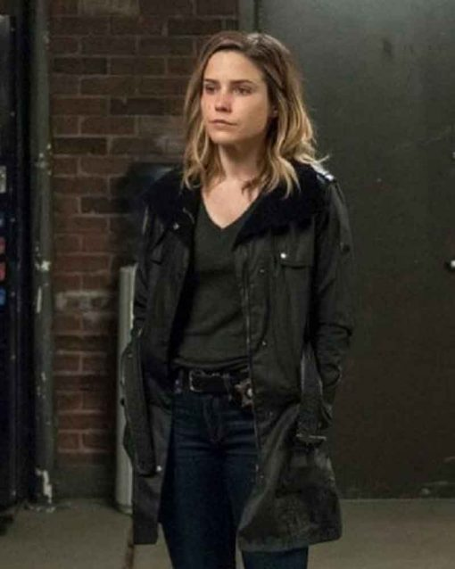 Chicago P.D. Black Leather Erin Lindsay Coat with Fur Collar