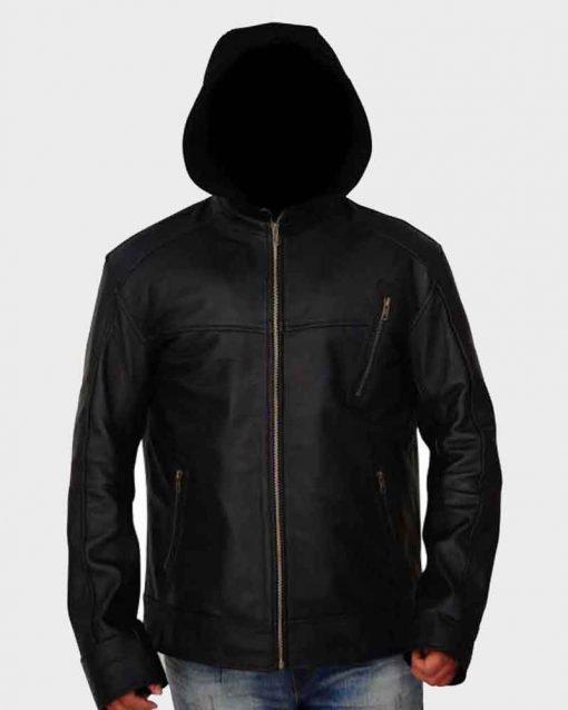 Chicago P.D. Jesse Lee Soffer Leather Jay Halstead Jacket with Hood