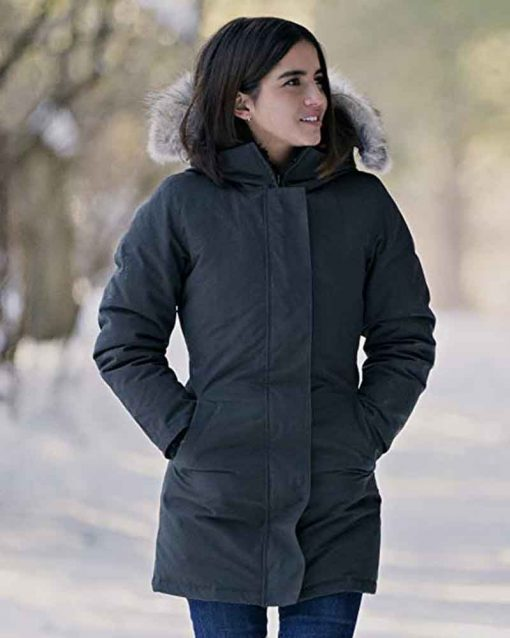 Let It Snow Cotton Julie Grey Coat with Fur Hood