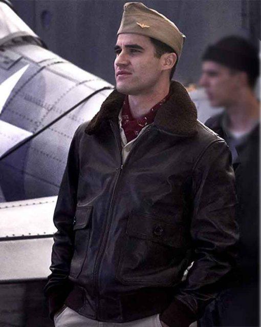 Darren Criss Brown Leather Midway Eugene Lindsey Bomber Jacket
