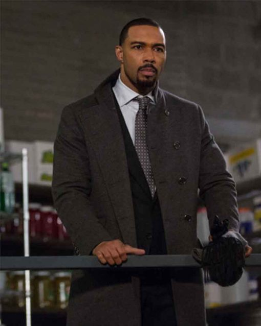 Power Omari Hardwick Double-Breasted Trench Ghost Grey Coat