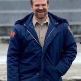TV Series Stranger Things David Harbour Blue Jim Hopper Jacket with Hoodie
