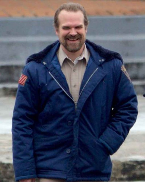TV Series Stranger Things David Harbour Blue Jim Hopper Jacket with Hoodie