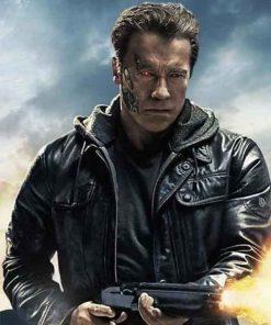 Arnold Schwarzenegger Terminator Genisys Black Guardian Leather Jacket