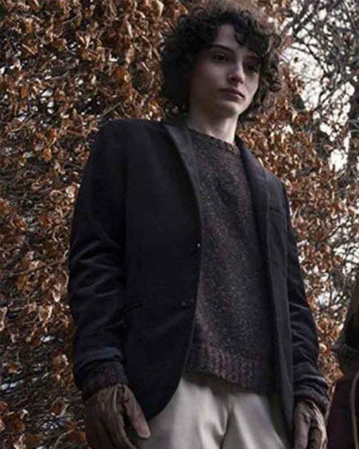 The Turning Finn Wolfhard Black Wool Miles Coat