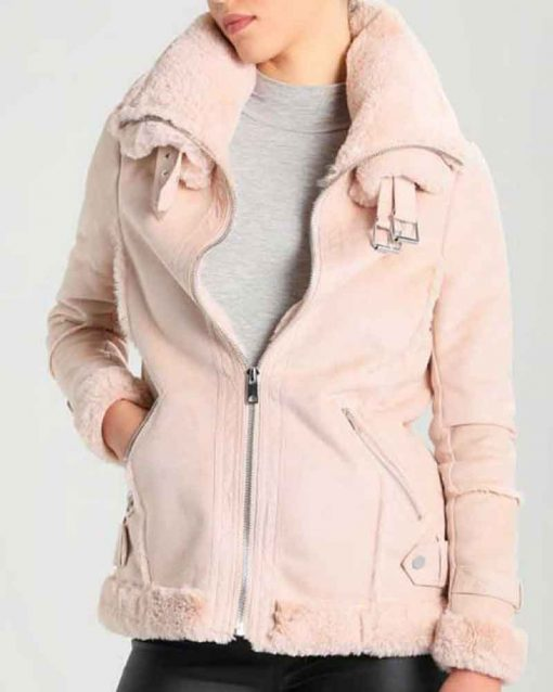 Women's Pink Suede Leather Shearling Jacket