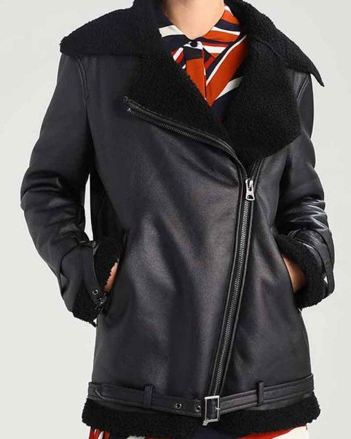 Womens Black Shearling Aviator Jacket