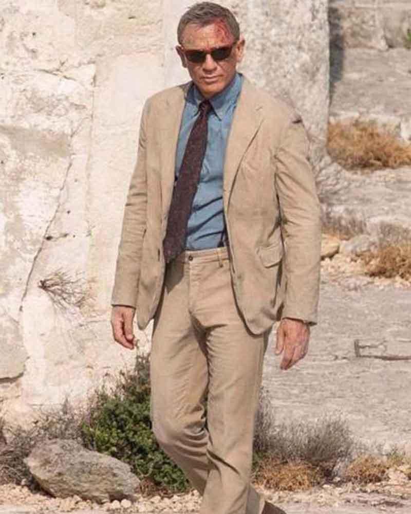 Daniel Craig Beige No Time to Die James Bond Corduroy Suit