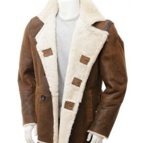 Mens Distressed Brown Double Breasted Coat