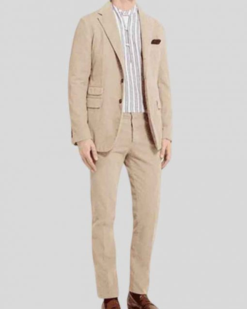 Daniel Craig Beige No Time to Die James Bond Corduroy Suit