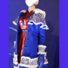 Anna Kendrick Noelle Kringle Blue Shearling Coat