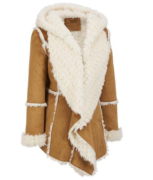 Womens Brown Suede Faux Fur Overcoat With Hood