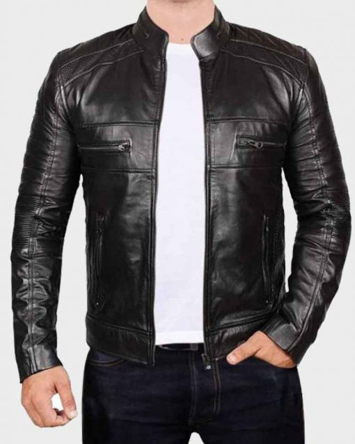 Genuine Men's Johnson Black Leather Jacket