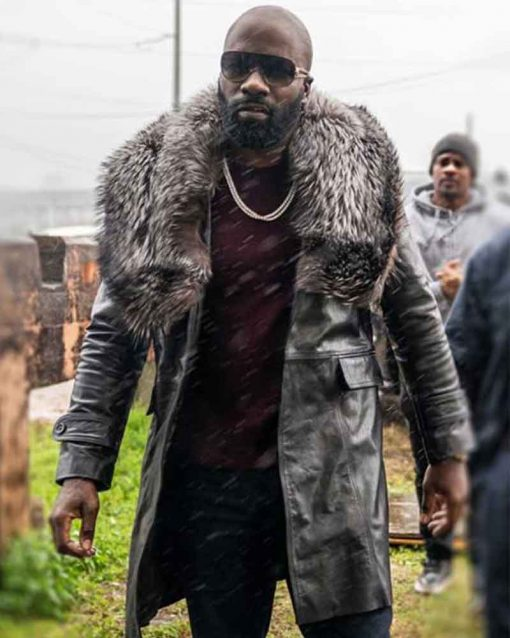Black and Blue Mike Colter Leather Darius Shearling Coat