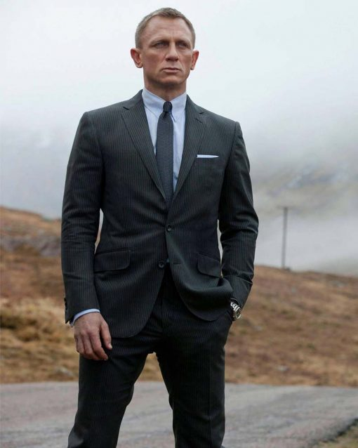 Daniel Craig Pinstripe James Bond Skyfall Charcoal Grey Suit