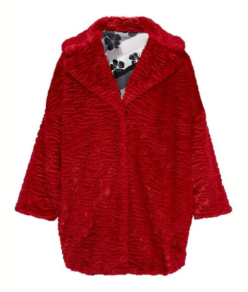 Katy Keene Mid-Length Red Fur Coat
