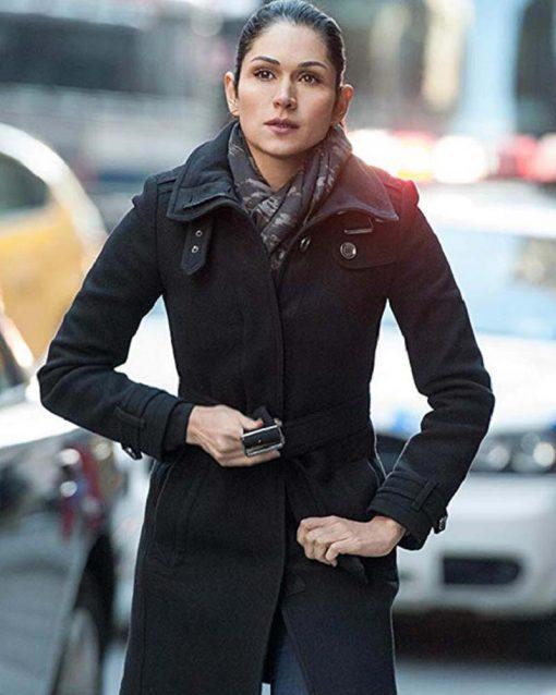 Power Lela Loren Black Wool Coat