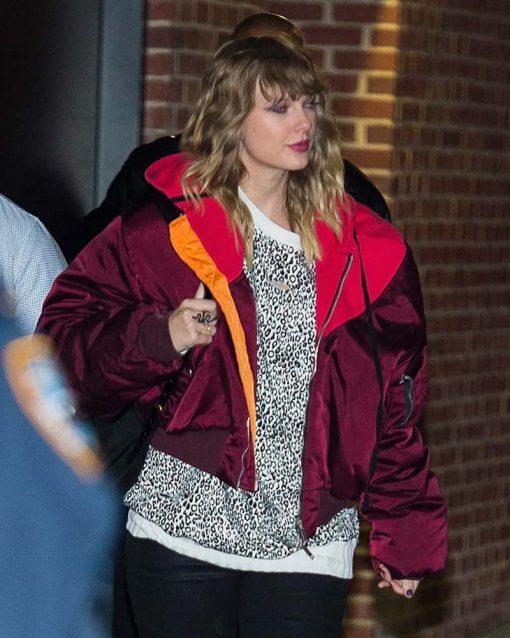 Taylor Swift Burgundy Oversized Jacket