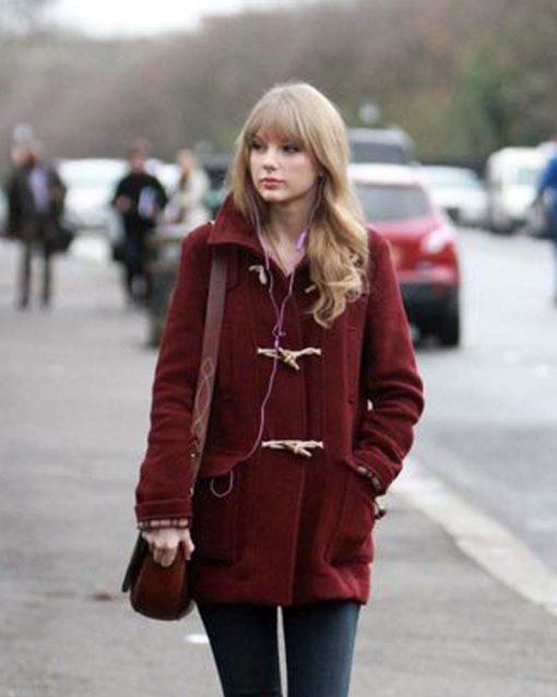 Burgundy Taylor Swift Bound Seam Toggle Coat