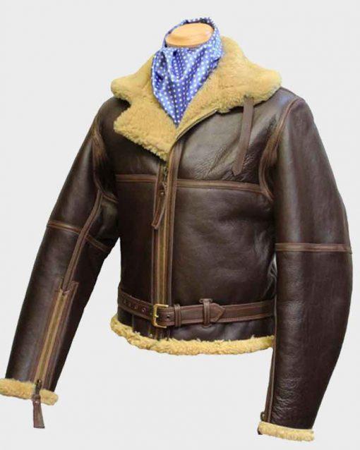 WW2 RAF Sheepskin Brown Shearling Leather Jacket
