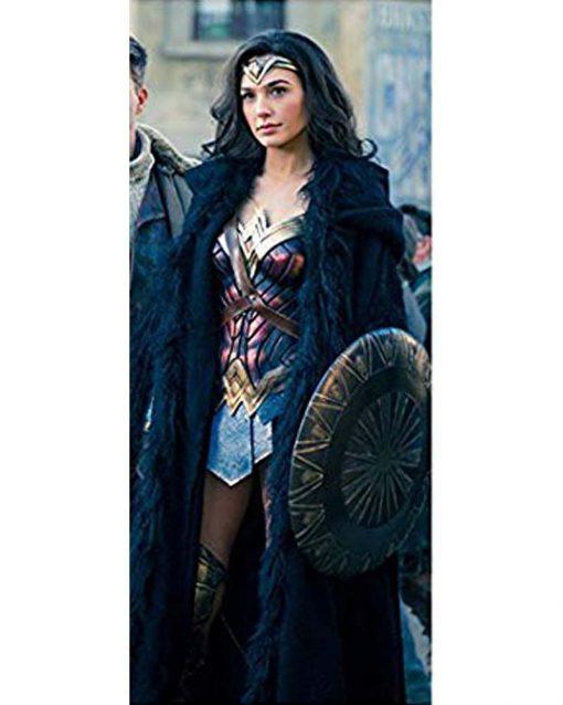 Wonder Woman Gal Gadot Shearling Black Coat