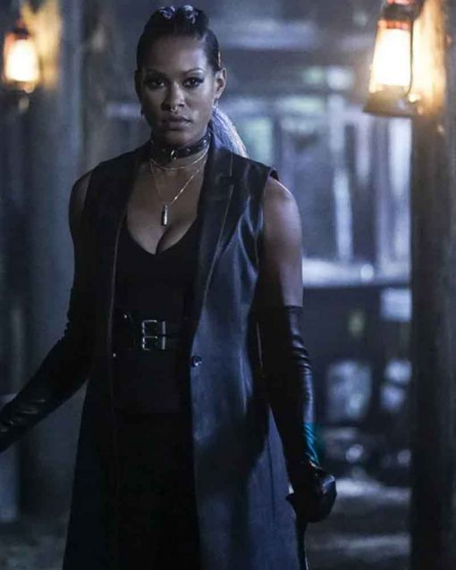 Black Lightning Kearran Giovanni Black Leather Trench Coat