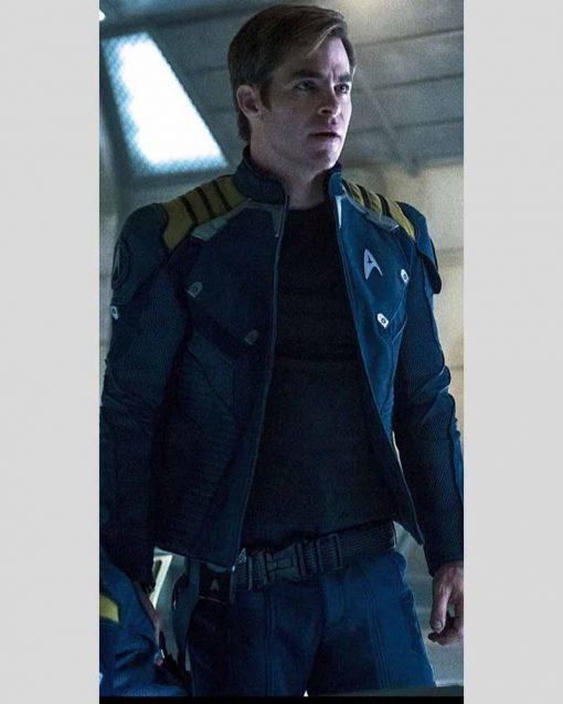 Star Trek Beyond Captain Kirk Uniform Blue Leather Jacket