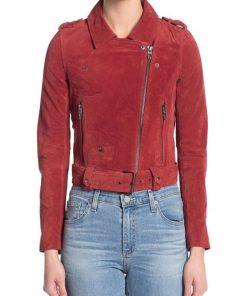 Violett Beane Red Leather Biker Jacket