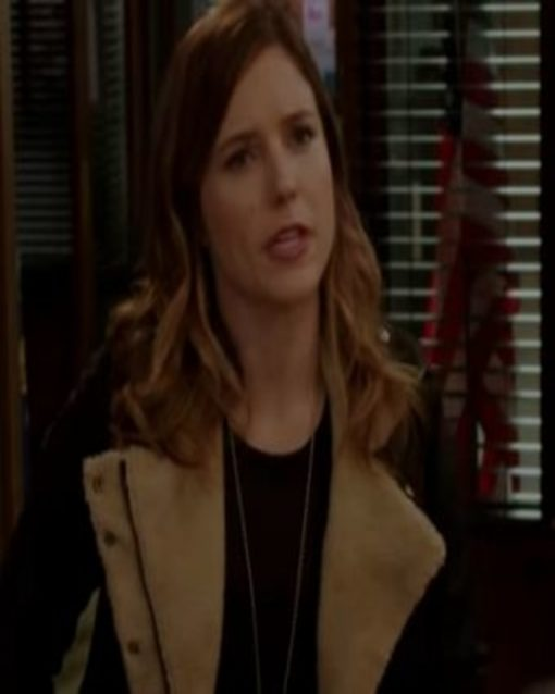 Chicago PD Sophia Bush Black Fur Leather Jacket